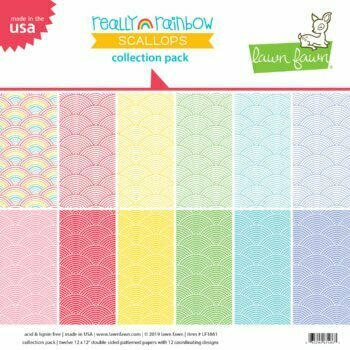 """Lawn Fawn - Really Rainbow Scallops - Collection Pack 12"""""""