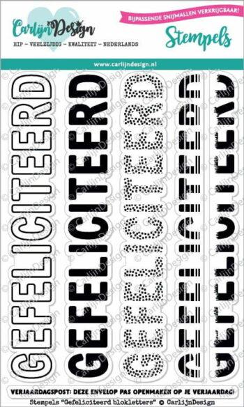 cdst 0041 carlijndesign stempels gefeliciteerd blokletters