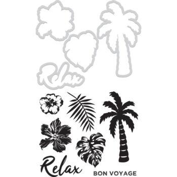 hr dd994 relax decorative dies stamps kaisercraft paradise found palm tree hibiscus flower