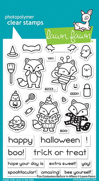 lf2401 lawn fawn clear stamps fox costumes before n afters sml