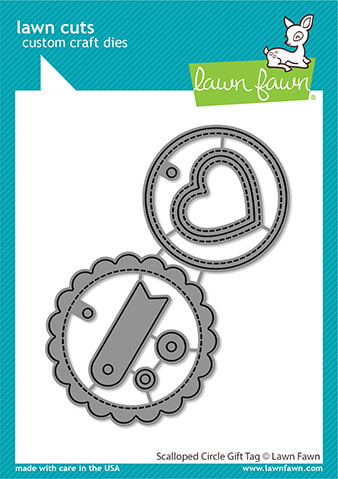 lf2453 lawn cuts stand alone craft dies scalloped circle gift tag sml