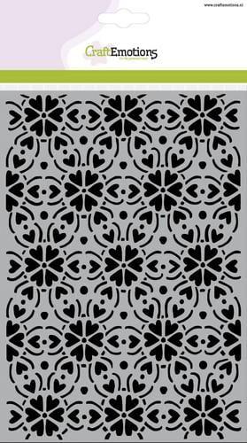 tt craftemotions mask stencil patroon ornament hart bloem a5 new 01 18 45427 1 g