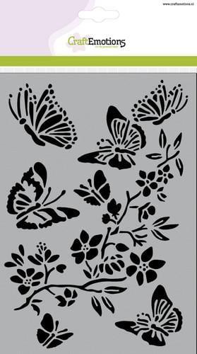 tt craftemotions mask stencil vlinders met bloesemtak a5 new 01 18 45424 1 g