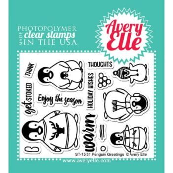 avery elle clear stamps penguin greetings
