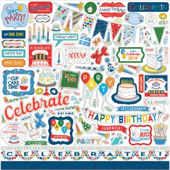 carta bella lets celebrate 12x12 inch element stic