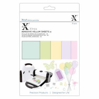 xcut xtras a5 adhesive vellum sheets coloured 15pc