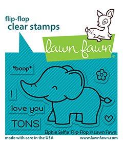 lf2514 elphie selfie flipflop sm lawn fawn clear stamps