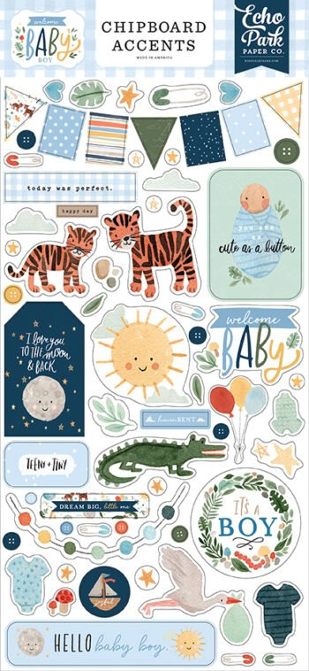 wbb234021 welcome baby boy chipboard accents