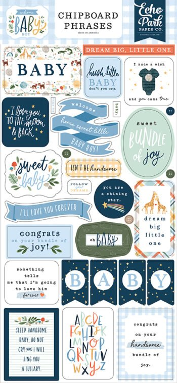 wbb234022 welcome baby boy chipboard phrases