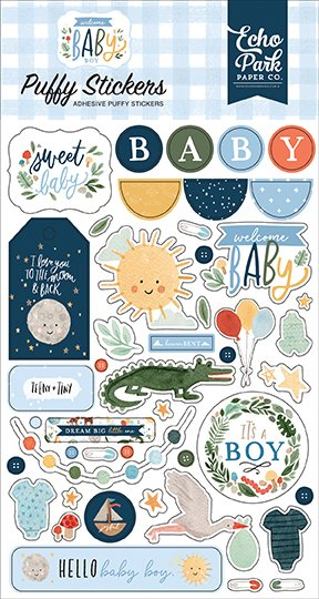 wbb234066 welcome baby boy puffy stickers