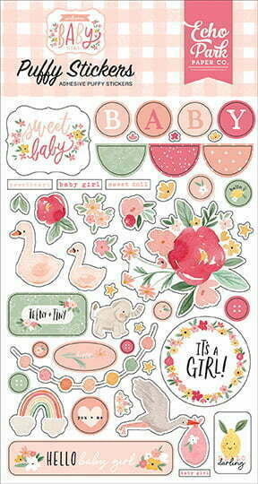 wbg233066 welcome baby girl puffy stickers