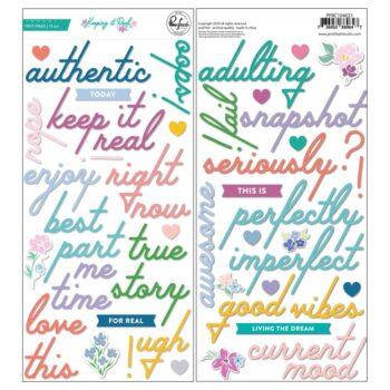 PinkFresh Studio Keeping It Real Puffy Phrase stickers