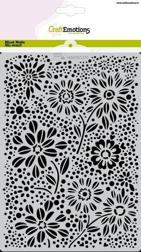 craftemotions mask stencil flowers dots a5 a5 gb 05 21 320497 nl g