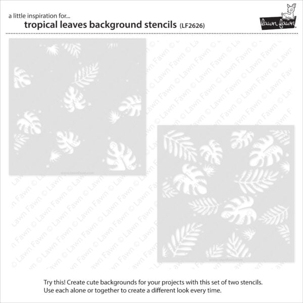 lf2626 lawn fawn tropical leaves background stencils 2