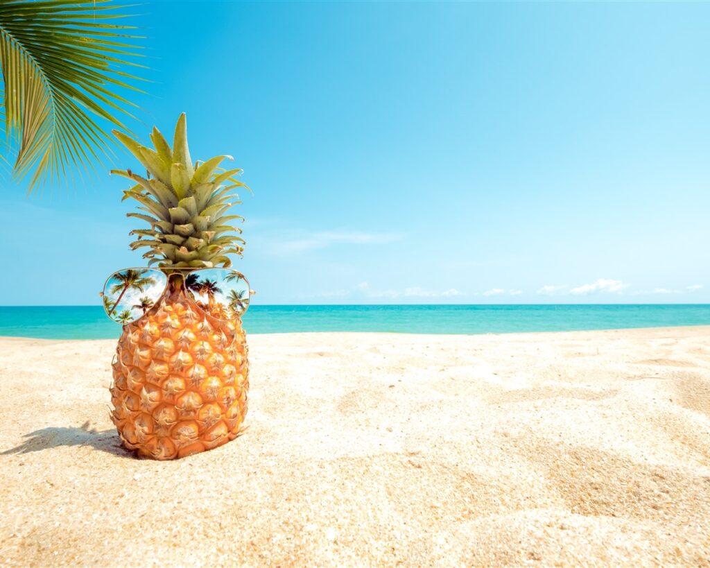 Pineapple sunglasses beach palm trees sea 1280x1024 1