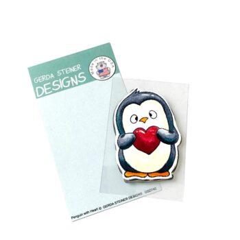 GSD743 penguin with heart by Gerda Steiner