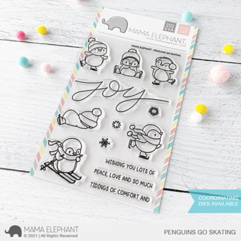 S mama elephant clear stamps PENGUINS GO SKATING grande
