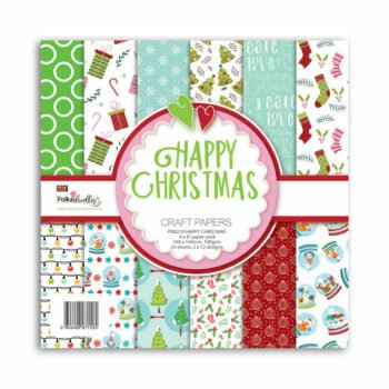 polkadoodles happy christmas 6x6 inch paper pack p