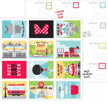 7334 Doodlebug Fun At The Park post cards double sided cardstock
